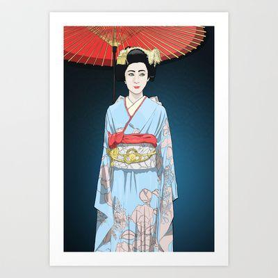 Kyoto Geisha  Art Print by Andy Heather - $20.00