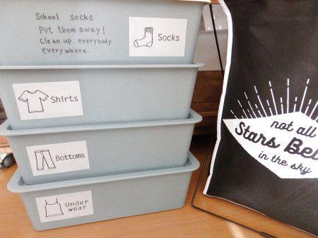 自在にアレンジ♡カラーボックスで引き出し収納アイデア37選 - 暮らし ... ダイソーの収納ケース&キャンドゥーのステッカーで子供の学校用衣類をかわいく収納