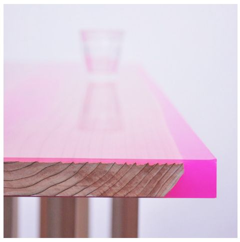 "Table by Jo Nagasaka - ""We added a layer of coloured epoxy poured on a wooden surface which grain had been peeled out to create different depth and by doing so various intensity in colour."