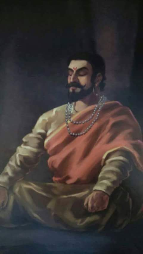 Spiritual and peaceful painting of King Shivaji