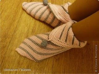 Tina's handicraft : knitting slippers