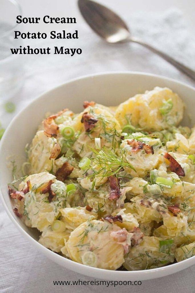 Sour Cream Potato Salad With Bacon Potato Salad Without Mayo This Sour Cream Potato Salad Is In 2020 Sour Cream Potatoes Sour Cream Potato Salad Bacon Potato Salad