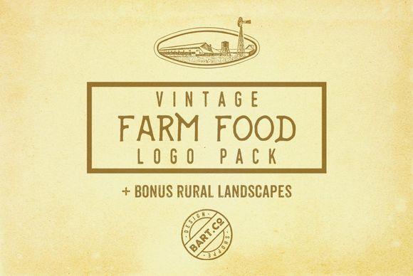 9 Farm Food Logos + BONUS by BART.Co Design on @creativemarket