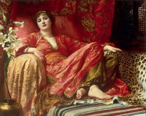 Frank Dicksee, Leila, 1892. Dicksee was an English painter, having never traveled to the Middle East we here see how he paints from the stereotypical ideal. Using the vivid red colours and presenting the woman with jewels etc.