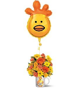 """Is someone feeling a bit under the weather? It's Dr. Chicken to the rescue! Our cheerful chicken mug - filled with bright flowers - comes with a big foil balloon, and will bring a smile to anyone's day.  A ceramic Mugaloon™ decorated with an adorable """"Get Well"""" design, plus an 18"""" foil """"chicken head"""" balloon. The bouquet includes orange roses and miniature carnations, plus yellow daisy spray and button spray chrysanthemums. Get well soon gift ideas"""
