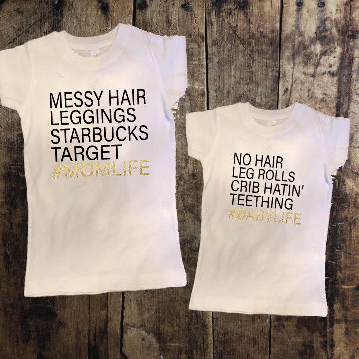 Mom Life/Baby Life Mommy + Me Tshirt Set