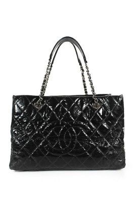 Chanel Black Quilted Patent Leather Silver Tone Timeless Tote Handbag a125517b53