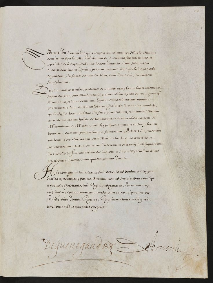 A leaf from the marriage contract of Ladislaus IV Vasa and Marie Louise Gonzaga signed at Fontainebleau, September 26th, 1645 (PD-art/old), Biblioteka Czartoryskich