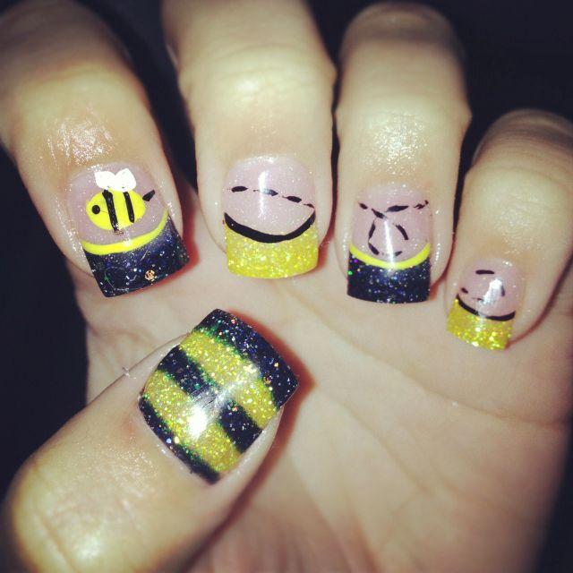 Honey Yellow Nail Polish: Bumble Bee Nail Design