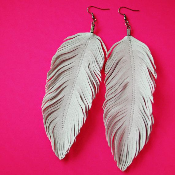 Dove   White Feather Earrings, Faux Leather, White Feather, Bridal  Earrings, Boho Earrings, Bohemian Accessories, Boho, Bride, Bridal, 80s