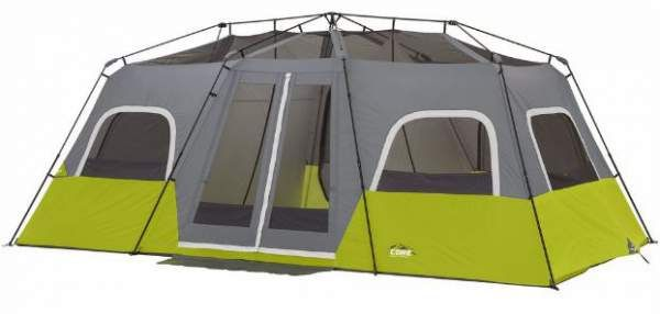 Core 12 Person Instant Cabin Tent Review – Great Price & Area This Core 12 Person Instant Cabin Tent Review is about one of the largest family camping tents on the market. With 3 rooms, this freestanding tent sets up in under 2 minutes. #tents, #camping, #familycampingtents, #outdoors, #outdoorequipment