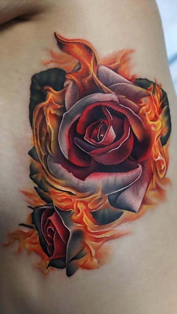 Tattoo Trends – crazy rose on fire tattoo © tattoo artist Andres Acosta