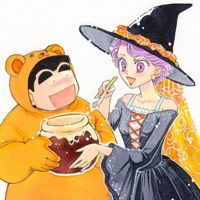 ハロウィン関係の画像を見かけ始めたので私も〜(^。^)「愛情物語」の太助さんと穂麦さんプーさんと魔女のコスプレです。安定のラブラブ💗  #イラスト #illustration #manga  #漫画 #ハロウィン #もと #もとp #painting fukudamotoko 2016/09/25 19:31:36