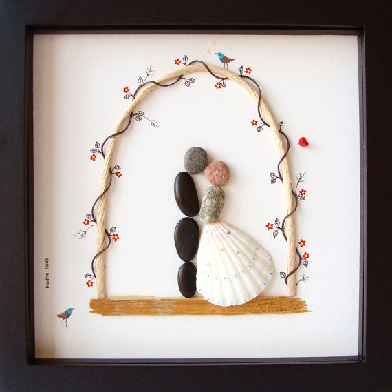 Painting As Wedding Gift : ... WEDDING Gift- Bride and Groom Gift- Unique Engagement Gift- Pebble Art