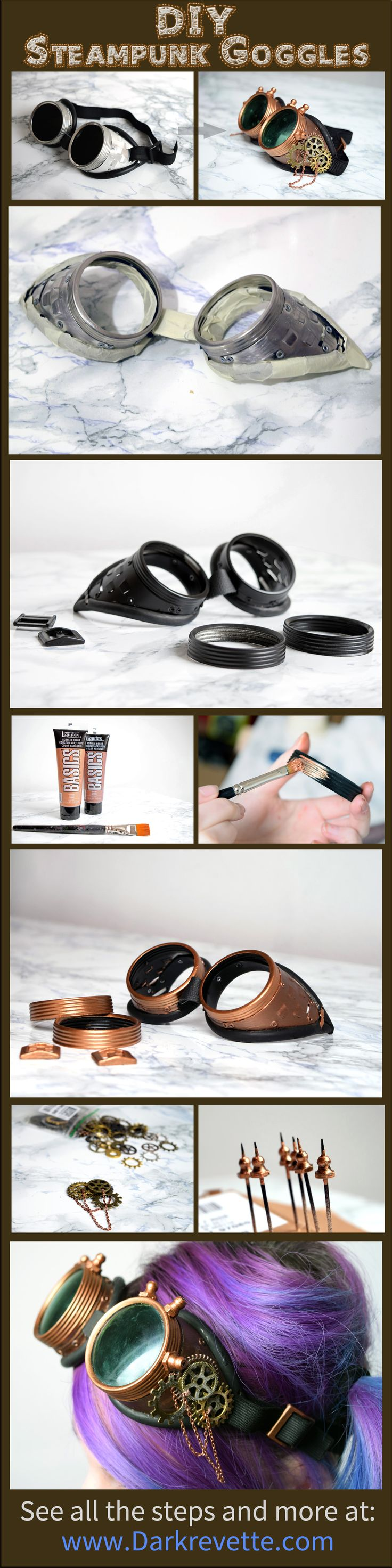 DIY and tutorials: Steampunk goggles ~ Darkrevette                                                                                                                                                      More