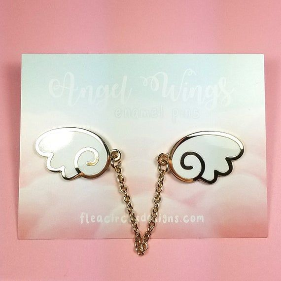 Angel Wings Enamel Pins With Chain White Gold Wing Lapel Pin Etsy In 2021 Gold Angel Wings Enamel Pins White Enamel