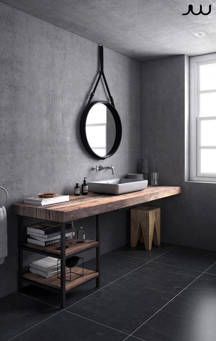 Graues skandinavisches Badezimmer auf Behance