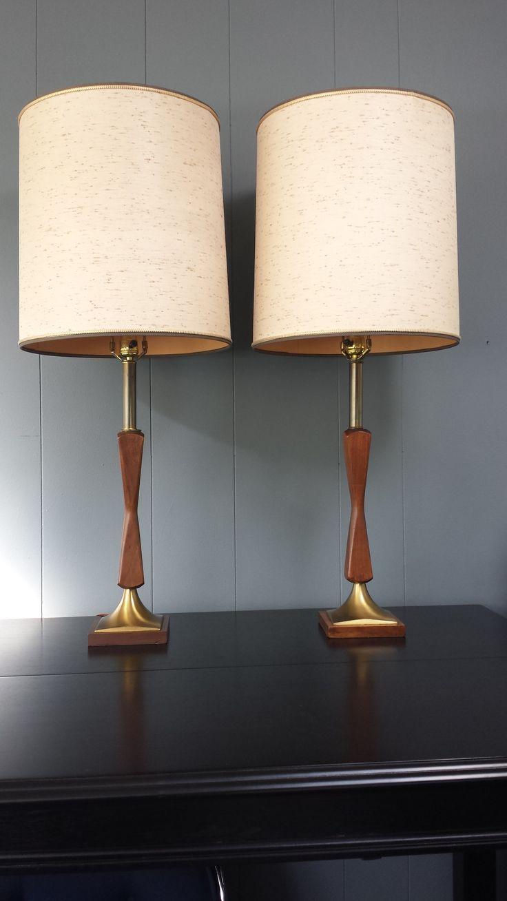 Mid century modern brass table lamps - Pair Mid Century Danish Modern Wood Brass Table Lamps
