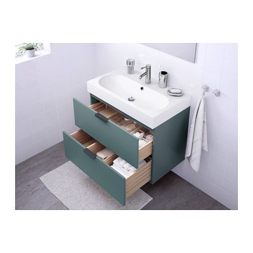 GODMORGON / BRÅVIKEN Wash-stand with 2 drawers - grey-turquoise - IKEA