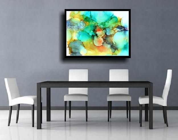 Large Abstract Painting Giclee Print Abstract Wall Art Modern Painting Contemporary Minimalist Meditation Zen Colorful Painting Blue Gray by therawcanvas on Etsy