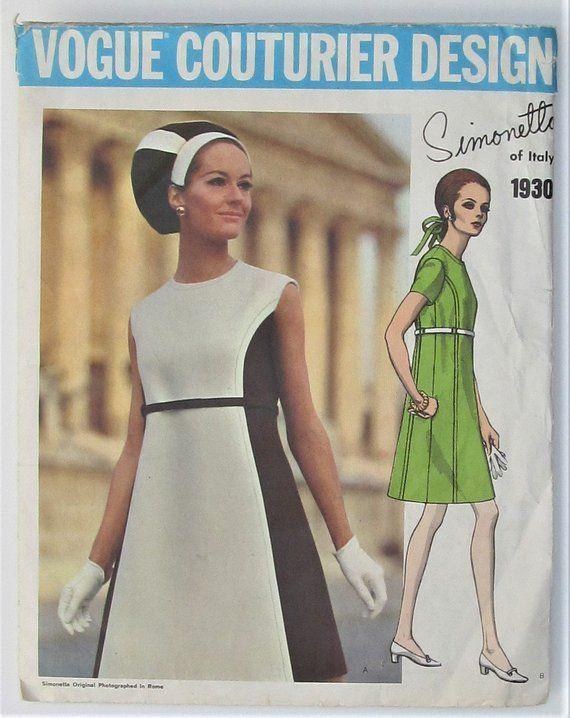 1968; Simonetta UNCUT Misses/' Dress Vogue Couturier Design 1930; ca Size 12