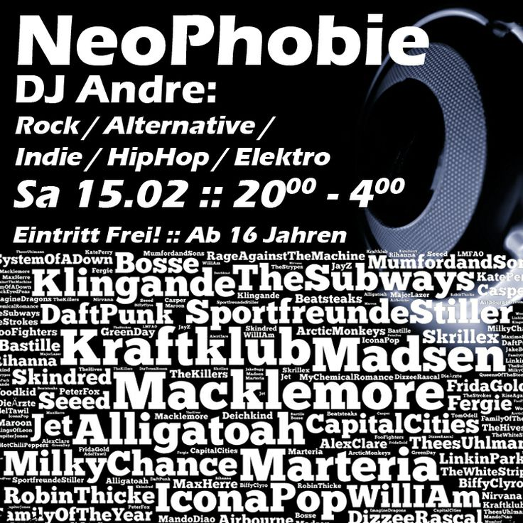 Sa 15.02. @ Radhaus Kleve :: NeoPhobie (DJ Andre) - Rock/Alternative/Indie/HipHop/Elektro :: 20.00 - 4.00 :: Eintritt Frei :: Einlass ab 16 Jahren #radhaus #kleve #radhauskleve #goch #emmerich