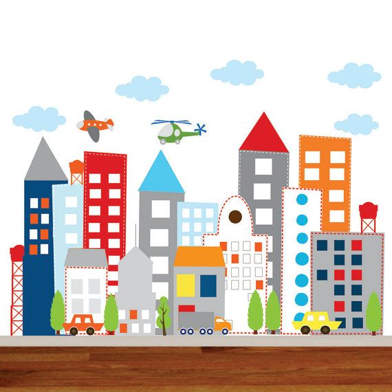 Kids Vinyl Wall Sticker Decal Art city buildings with cars trucks helicopter airplane Children Nursery Baby Kid  Room on Etsy, $125.00