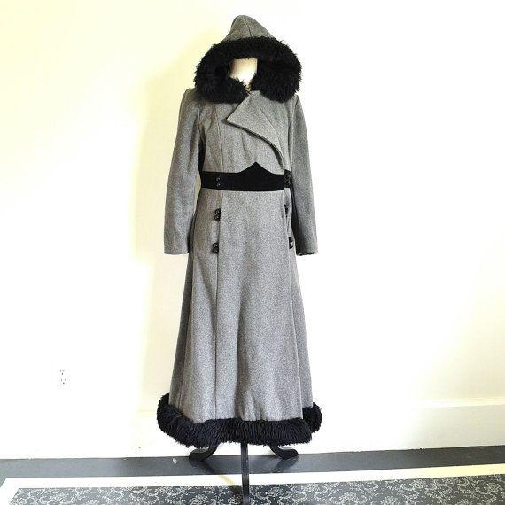 Grey Swing Coat - 70s Boho Maxi Princess Coat - Long Russian Style Steampunk Coat - Heavy Long Hooded WInter Coat