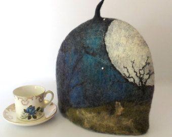 Felted Tea Cozy - The Moonlit Tree - teapot cosy