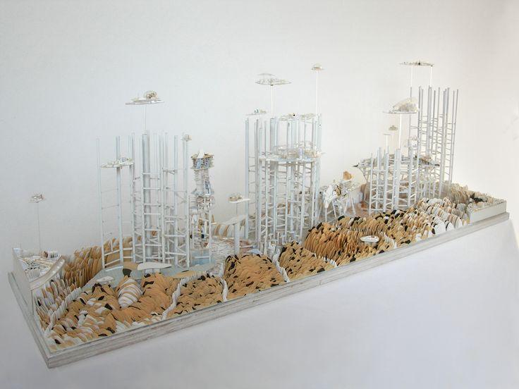 Clément Bagot, Archipel, 2009, bois, carton, plastiques, plexiglas, résine, 48x110x28cm, collection privée France www.evahober.com