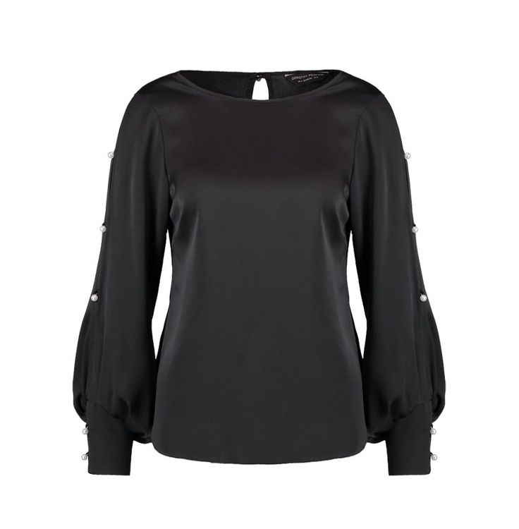 Black satin blouse with embellished sleeves | Dorothy Perkins