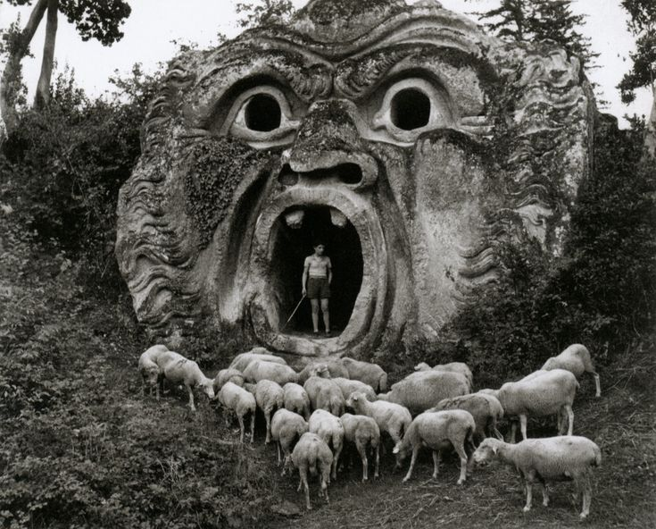 Herbert List:Grotesque Figure, Park of Palazzo Orsini, Bomarzo, Italy, 1952