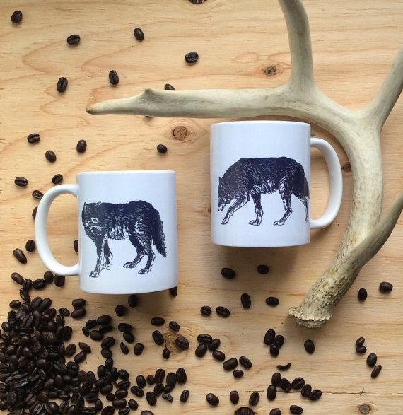 Wolf Mug Ceramic Mug Gray Wolf Coffee Cup by naturesmyfriend