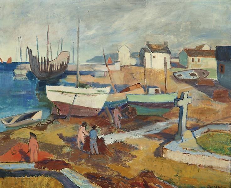 Landskap från St Guénolé, olja på duk, sign. 1938, 50x61