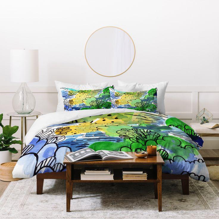 Elena Blanco Morning green Duvet Cover | Deny Designs