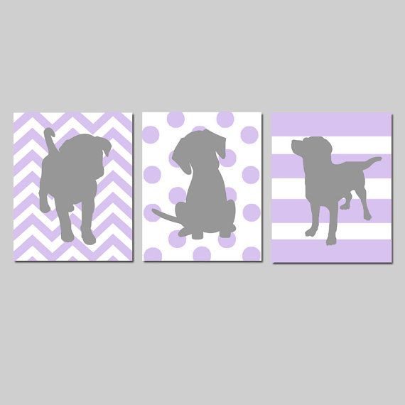 Lavender Purple Gray Puppy Dog Nursery Decor Baby Girl by Tessyla