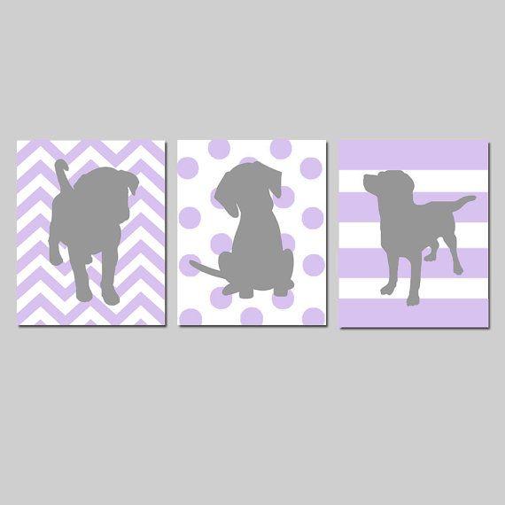 Lavender Purple Gray Puppy Dog Nursery Decor Baby Girl by Tessyla