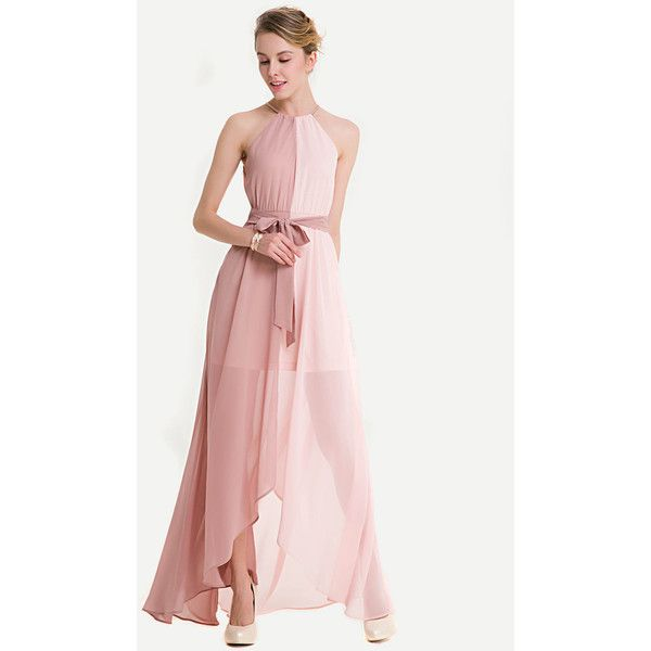 Two Tone Dip Hem Chiffon Dress With Weave Strap ($28) ❤ liked on Polyvore featuring dresses, pink khaki, halter top, chiffon maxi dress, white sleeveless dress, hi low dress and maxi dress