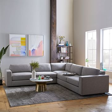 Urban 3-Piece L-Shaped Sectional in heather crosshatch feather gray or shadow weave : small sectional sleeper - Sectionals, Sofas & Couches