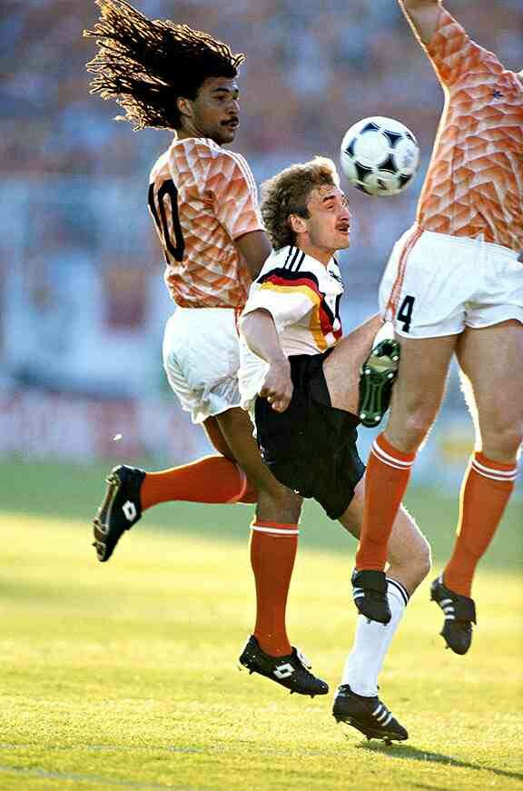 West Germany 1 Holland 2 in 1988 at Hamburg. Rudi Voller in sandwiched between Ruud Gullit and Ronald Koeman in the Semi Final of Euro '88.