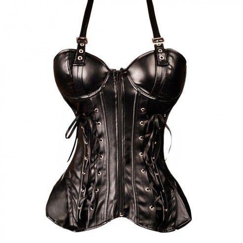 Black PVC Corset with straps