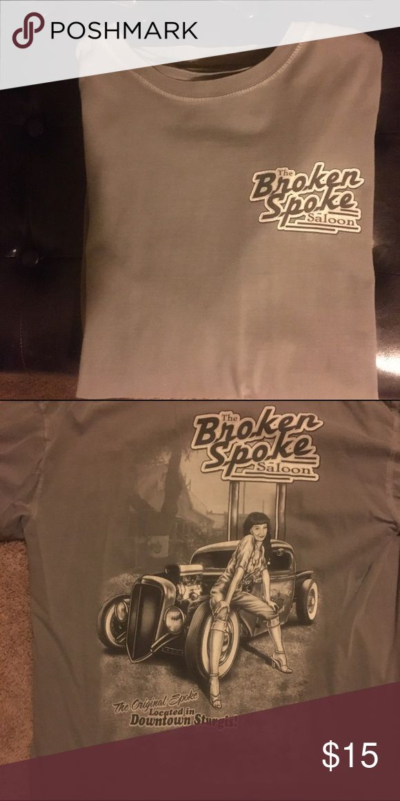 Men's T-shirt. Broken Spoke Saloon. Sturgis Super cool gray shot sleeve tee-shirt from Broken Spoke Saloon in Sturgis. See second picture for the backside. Excellent like new condition. Shirts Tees - Short Sleeve