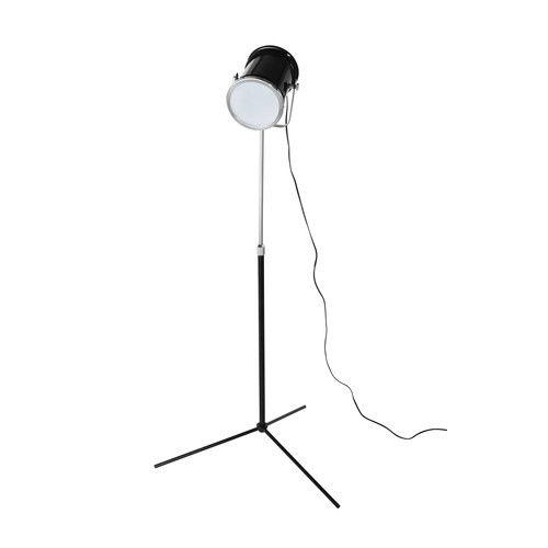 Lámpara de pie orientable con trípode de metal y metacrilato negro Al. 137 cm HOLLYWOOD