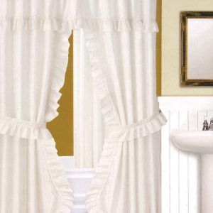 Ruffled Double Swag Fabric Shower Curtain And Window Curtain Set
