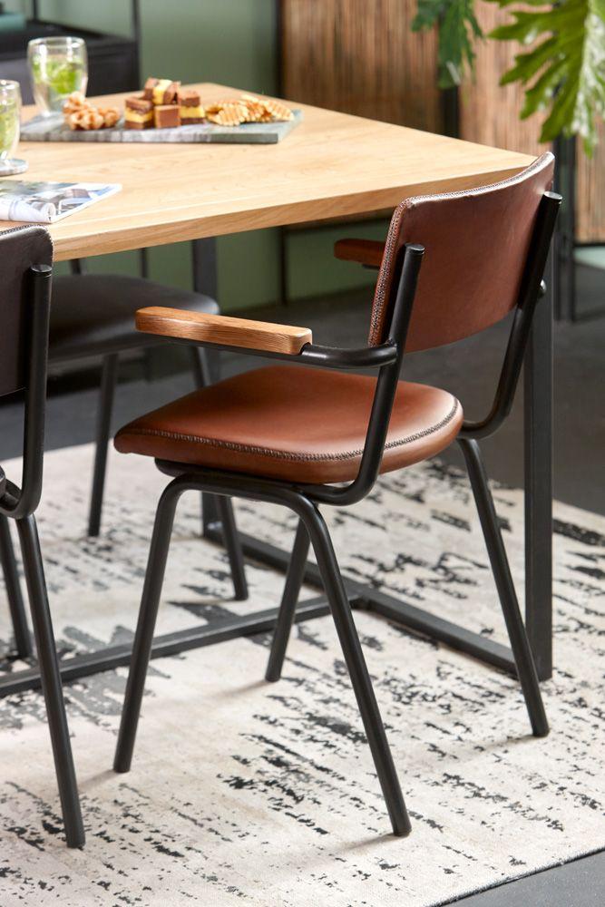 Klassieke Design Stoelen.Lifestyle Stoel Schoolchair Met Arm Cognac Sfeer Nl