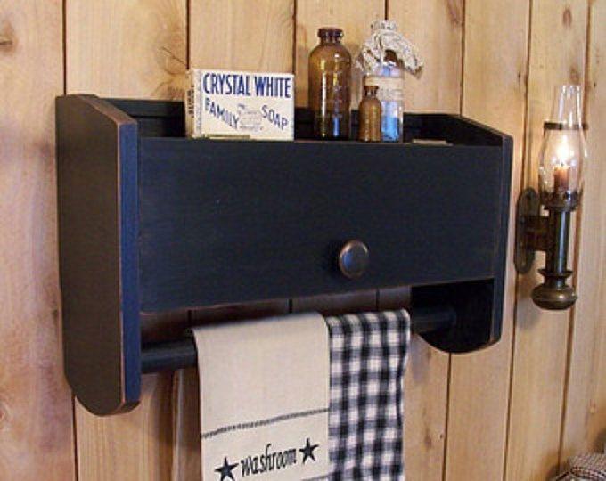 Primitiva sobre el almacenamiento de papel higiénico WC baño toalla gabinete Rack / Original diseño / Color a elección