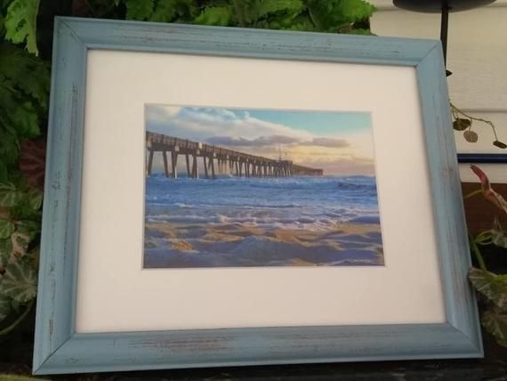 Beach Photographypierpanama City Beach Blue Frame Shabby Etsy Blue Beach Decor Beach Frame Frame Shabby