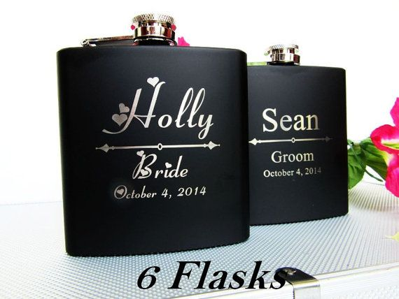 Set of 6 Wedding Party Flask Gift Sets // Bridesmaid and