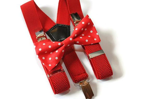 red polka dot bow tie & red suspenders toddler wedding outfit