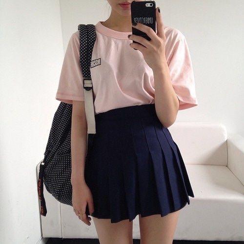 msfts tee + american apparel navy tennis skirt